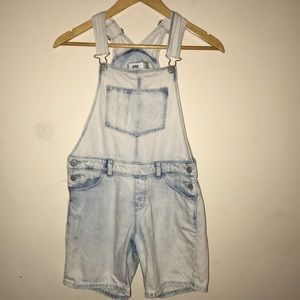 Distressed faded overalls Old Navy small